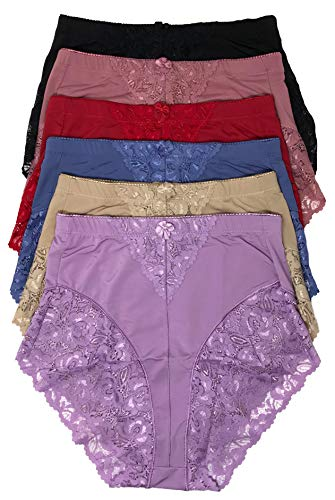 Peachy Panty Women's 6 Pack High Waist Cool Feel Brief Underwear Panties S-5xl (Lace Decorated Girdle, Large)