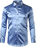 ZEROYAA Mens Regular Fit Long Sleeve Shiny Satin Silk Like Dance Prom Dress Shirt Tops Z6 Light Blue Medium