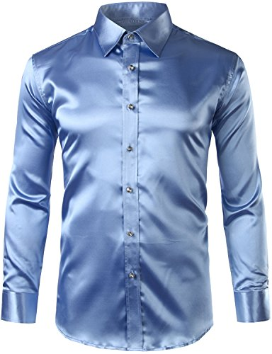 ZEROYAA Mens Regular Fit Long Sleeve Shiny Satin Silk Like Dance Prom Dress Shirt Tops Z6 Light Blue Medium by ZEROYAA
