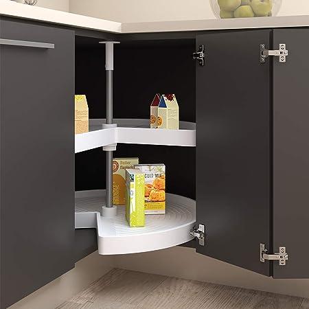 EMUCA - Kit de bandejas giratorias para Mueble de Cocina esquinero, bandejas giratorias 3/4 de Ø810mm para modulo de 900mm, Blanco