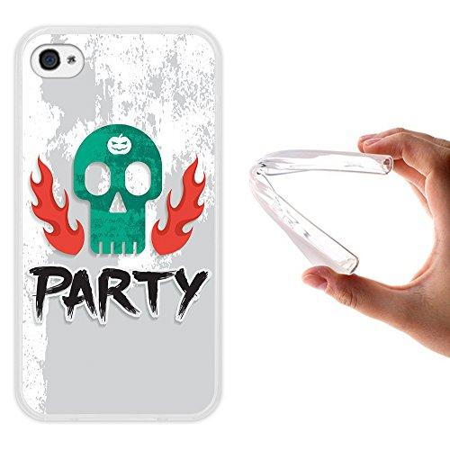 WoowCase Hülle Case für { iPhone 4 iPhone 4S } Handy Cover Schutzhülle Party und Schädel