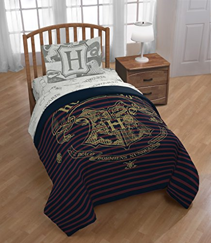 D.I.D. 4 Piece Kids Navy Red Stripes Harry Potter Comforter Twin Set, Hogwarts Bedding Movie Themed Glasses Grey Stars Potterheads Fan Gear Merchandise Gray Golden HP Logo, Polyester