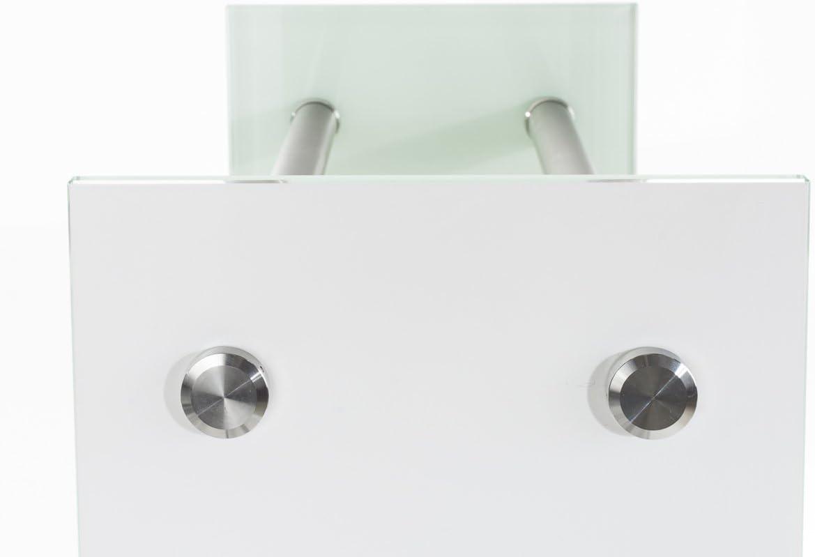 CLP Le/ñero De Interior Dacio Moderno I Soporte para Le/ña De Cristal Blanco I Estanter/ía De Almacenamiento De Acero Inoxidable o Metal I 35x35x140 cm 6 travesa/ños