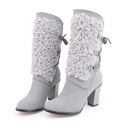 Amoonyfashion Mujeres Round Closed Toe Tacones Altos Frosted Mid Top Solid Botas Gris
