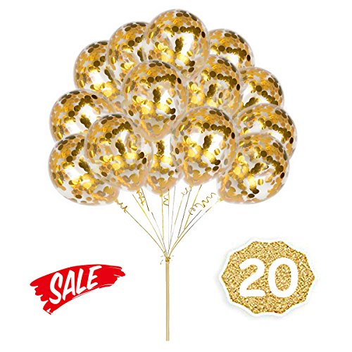 - HoveBeaty Gold Confetti Balloons, Round 12'' Party Balloons Latex Transparent Golden Balloons for Wedding, Proposal, Birthday Party Decorations (20 Pack)