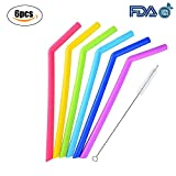 Reusable Straw Drinking Straws Food-Grade Silicone Straws Flexible Smoothies Bent Straws with Cleaning Brushes for Rtic Yeti Ozark Rambler Tumblers Straw Lid 30 Oz or 20 Oz,BPA-Free