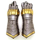 Medieval Warrior Brand Metal Gothic Knight Style Gauntlets Fully Functional Armor Gloves (Gold)