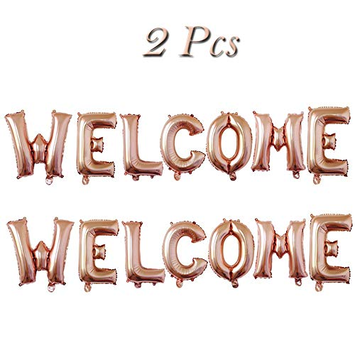Welcome Foil Balloons Welcome Letters Mylar Balloon Banner for Wedding/Birthday/Bridal Shower/Bachelorette/New Year/Graduation Party Decorations, 16 Inch, Set of 2(Rose -