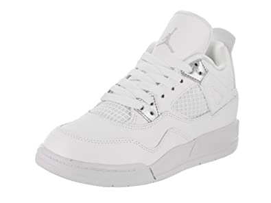 "6ebc7c24b65 Jordan Retro 4""Pure Money White/Metallic Silver (Little Kid) (1"