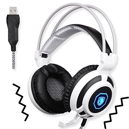 Gaming Headset Vibration - SADES Vibration Mode USB Gaming Headset Headphones with Microphone LED Lights for PC Mac PS4 (Black and White)
