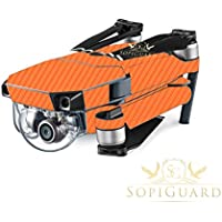 SopiGuard Orange Carbon Fiber Precision Edge-to-Edge Coverage Vinyl Skin Controller Battery Wrap for DJI Mavic Pro