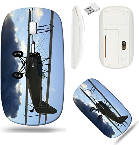 Liili Wireless Mouse White Base Travel 2.4G Wireless Mice with USB Receiver, Click with 1000 DPI for notebook, pc, laptop, computer, mac book Very early vintage biplane flying above the clou ()