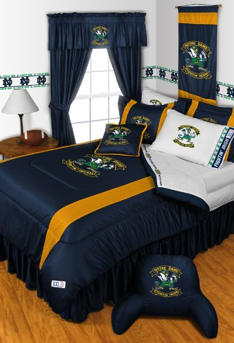 Notre Dame Fighting Irish 4 Pc QUEEN Comforter Set and One Matching Window Valance/Drape Set (Comforter, 2 Shams, 1 Bedskirt, 1 Matching Window Valance/Drape Set) SAVE BIG ON BUNDLING! by Sports Coverage