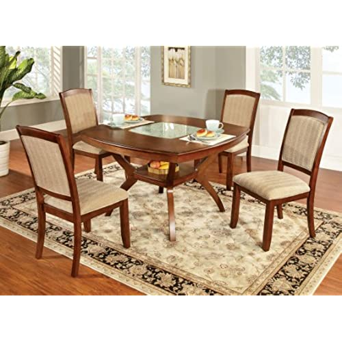 Furniture Of America Orialla 5 Piece Dining Table Set With Glass Insert, Oak  Finish