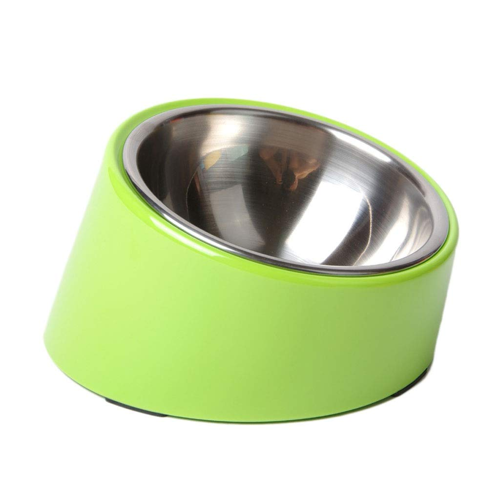Green S Green S Detachable Food and Water Dog Cat Pet Bowls 15 Degree Slanted Anti-Overflow Stainless Steel Dogs Cats Pets Bowls Feeder (color   Green, Size   S)