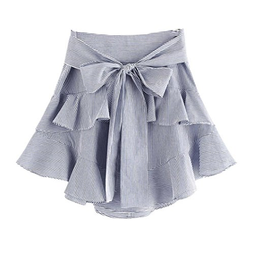 LLNONG-Womens Party Striped Fashion Fluffy Pleated Straps Sexy Mini Skirt (M) (Sexy Blue Pleated Skirt)