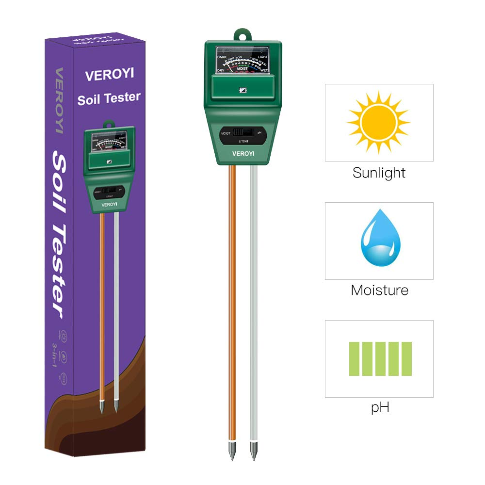 Veroyi Soil pH Meter, ST02 3-in-1 Soil Moisture/pH/Light Tester for Home, Garden, Lawn, Farm, Indoor Outdoor Plants (Green)
