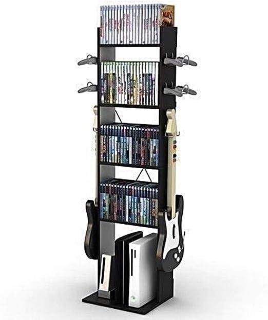 Lapha - Estantería para libros de mesa, soporte para libros de ficción, organizador de guitarra, color negro, para videojuegos, consolas, controladores, expositores, estantes de almacenamiento, torre organizadora: Amazon.es: Juguetes y juegos