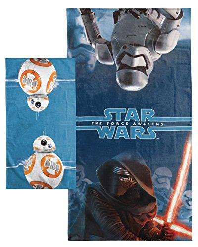 Jay Franco Star Wars Ep7 Force Awakens 2 Piece Cotton Bath/Hand Towel Set, BB8 Blue
