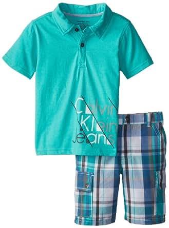 Calvin Klein Little Boys' Cargo Shorts, Green, 5