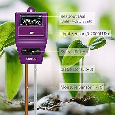 Sonkir Soil pH Meter, 3-in-1 Soil Moisture/Light/pH Tester Gardening Tool Kits for Plant Care, Great for Garden, Lawn, Farm, Indoor & Outdoor Use