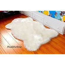 White Sheepskin Chubby Shapes Nursery Area Rug Faux Fur Single Pelts (3' x 5' feet) by PlushFurEver