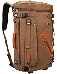 WSHIHAOM Canvas Rucksack Travel Bag Hiking Bag Laptop Backpack