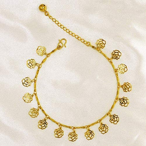 Fade Eventually Becoming European Currencies Vietnam alluvial Gold Foot Chain Anklet Ankle Bracelet Jewelry Plated 18k Married Women Flower Simple Clover Anklet Money