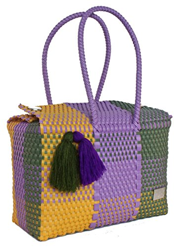 Artyzanz Bags - Bolso de asas para mujer Multicolor: Yellow, Purple & Green