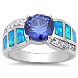 Simulated Tanzanite, Blue Opal & Cz .925 Sterling Silver Ring Sizes 5-10