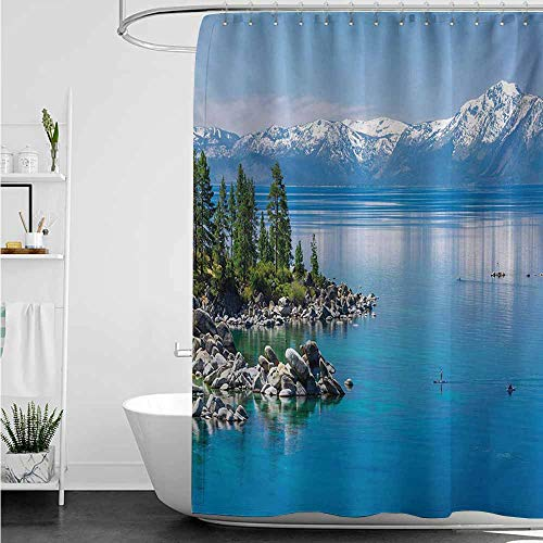 Waterproof Bathtub Curtain,Landscape Blue Waters of Lake Tahoe Snowy Mountains Pine Trees Rocks Relax Shore,Shower Curtain bar,W47x63L,Pale Blue Green Grey (Tahoe Tub Package)