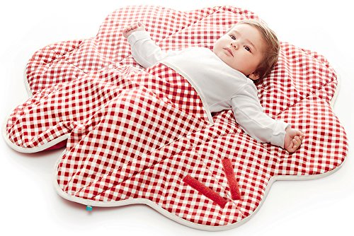 Baby Cribs Moses Baskets (Wallaboo Baby Blanket Fleur, Supersoft 100% Cotton, Newborn, For Pram, Moses Basket or Crib and Travel, Flower shape 85 cm, Colour: Red - Vichy)