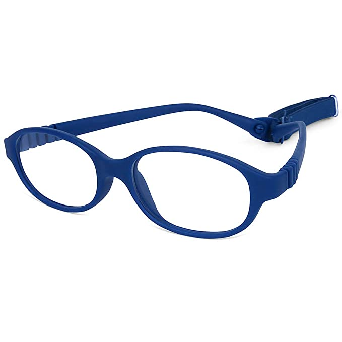 6a3cf53883 Children Optical Glasses Frame TR90 Flexible Bendable One-piece Safe Eyeglasses  Girls Boys Oval Blue