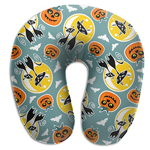 Osvbs Halloween Funny Pumpkins and Black Cats Memory Sponge U-Shaped Neck Cushion for Home, Travel, 11.81
