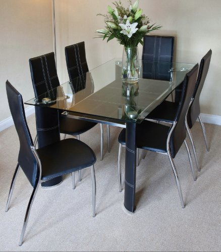 Montana Black Chrome And Clear Glass Dining Table And 6 Chairs