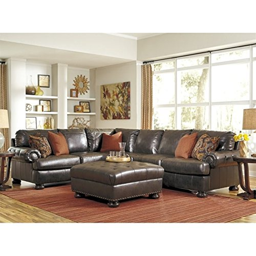 Ashley Nesbit 4 Piece Left Leather Sectional With Ottoman In