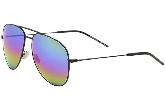 06ce6811b729d Image Unavailable. Image not available for. Color  Saint Laurent Classic 11  Rainbow 007 Black Classic 11 Rainbow Pilot Sunglasses