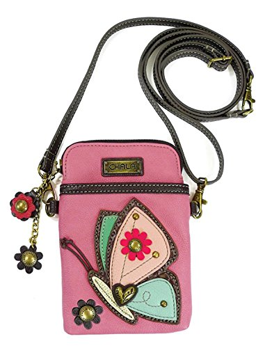 - Chala Crossbody Cell Phone Purse - Women PU Leather Multicolor Handbag with Adjustable Strap - Butterfly - Guava Pink
