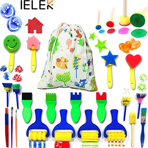 IELEK Kids Art & Craft Painting Drawing Tools Mini Flower Sponge Brush Set Fun Kits Early DIY Learning