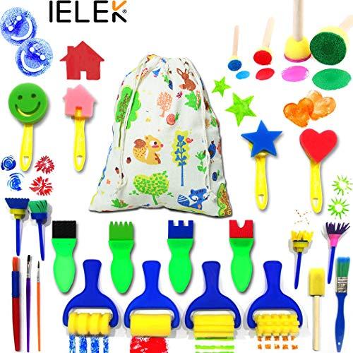 (IELEK Kids Art & Craft Painting Drawing Tools Mini Flower Sponge Brush Set Fun Kits Early DIY)