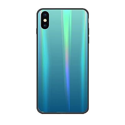 Alsoar Colorido Funda Compatible para Xiaomi Mi 6 Vidrio Templado 9H Aurora Gradient Marmol Cristal Anti-Rasguño Protectora Carcasa Bordes de Silicona TPU Bumper Caso Case(Verde Azul): Electrónica
