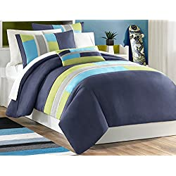 Mi Zone Pipeline Twin/Twin XL Duvet Cover Set Kids Boy - Navy Blue, Striped Pieced – 3 Piece Bed Set Cover – Ultra Soft Microfiber Kid Boys Bedding Set
