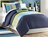 Mi Zone Pipeline Twin/Twin XL Duvet Cover Set Kids Boy - Navy Blue, Striped Pieced – 3 Piece Bed Set Cover – Ultra Soft Microfiber Kid Boys Bedding Set