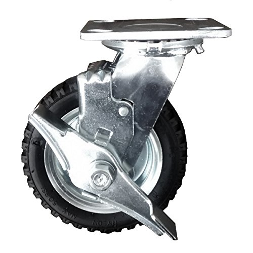 "Service Caster - 6"" Pneumatic Wheel - Swivel Caster w/Brake - 250 lbs. Capacity from Service Caster"