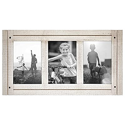 Americanflat 4x6 Aspen White Collage Distressed Wood Frame - Made to Display Three 4x6 Photos - White - Ready to Hang on Wall or Stand on Tabletop - Design: Aspen white distressed collage frame for 4x6 inch photos, perfect for your cherished memories, family portraits and vacation photos; comes with hanging hardware for hassle-free display in both horizontal and vertical formats to hang flat against the wall; includes an easel stand for tabletop or desktop display in landscape orientation Material: Textured wood frame with polished glass front that gives a clear view of your pictures and preserves your photographs, cards and memories; the wood on the face of the frame is hand painted to give it a rustic feel Quality: Durable, rustic collage frame; the frame's front has clear glass and a sturdy backboard to keep the photos in place - picture-frames, bedroom-decor, bedroom - 51YnNRSbssL. SS400  -