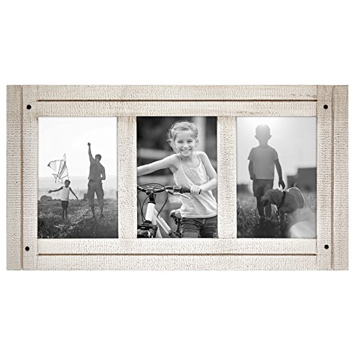(Americanflat 4x6 Aspen White Collage Distressed Wood Frame - Made to Display 3 4x6 Photos - White - Ready to Hang on Wall or Stand on Tabletop)