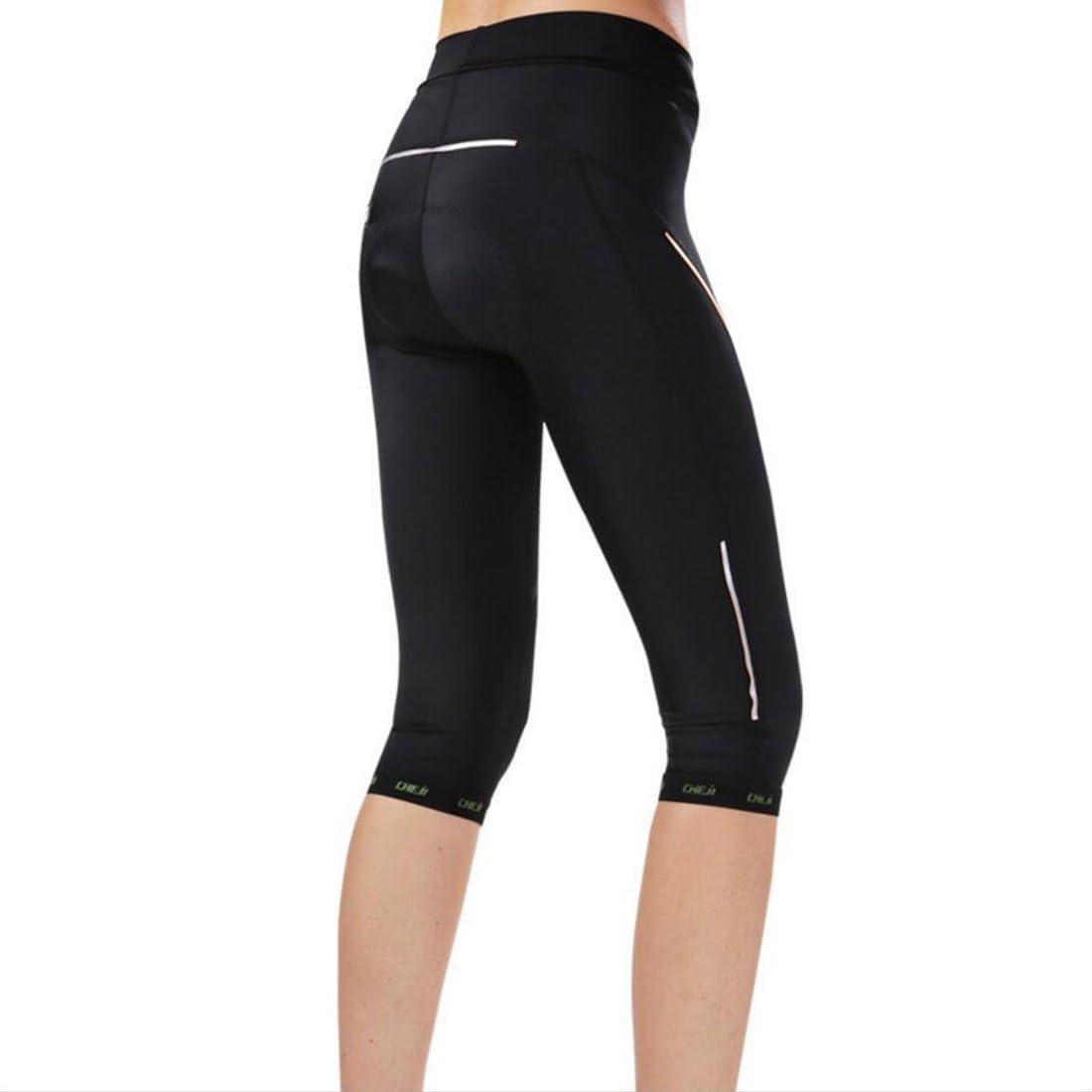 GWELL Mujer Bicicleta Pantalones Ciclismo Pantalones 3D Acolchado Cilindro de pantal/ón 3//4/Comodidad Slim Fit
