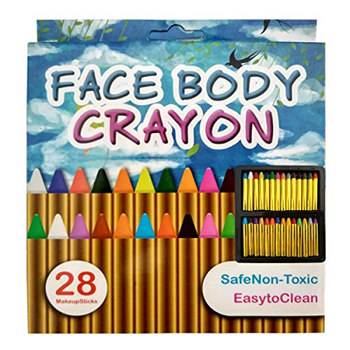 Face Paint Crayons Kit 28 PCS, Bright Colors Face Paint Kit Set for Kids, Safe & Non-Toxic Face Body Crayons, Perfect for Halloween Makeup, Party or Pretend Play (28 PCS)