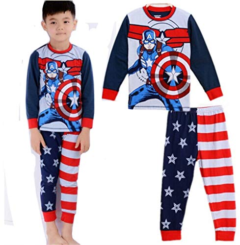 Boys Captain America Costume Pajamas Sets Children Christmas Pants 100% Cotton Spider-Man Long Kids Snug Fit Pjs Winter Toddler Sleepwear (132, 3T) ()
