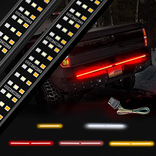 SS VISION Aluminum Triple Tailgate Light Bar Strip Waterproof with Free 4-Way Flat Connector Wire - Amber Sequential Turn Signal, Red Brake Running, White Reverse Lights for Pickup Trucks
